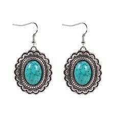 Nice New Tibetan Silver Turquoise Oval Shape Artesian Dangle Drop Earrings