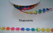 1M MULTI-COLOURED SPRING FLOWER/DAISY RIBBON/BRAID - CRAFTS/EASTER/SPRING