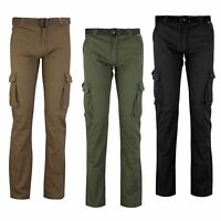 Mens Combat Cargo Trousers Washed Cotton Work Casual Pants Multi Pockets & Belt