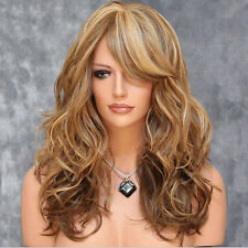 Women Ladies Fashion Long Wavy Blonde Party Curly Wig Synthetic Fiber Ful xxll