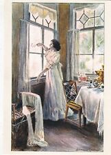 SAMOKISH-SUDKOVSKAYA Young girl drawing on window Russian modern postcard