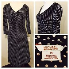 NWT Stunning Michael Kors Espresso Polka Dot Jersey Empire Waist Dress Size 10