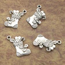 12pcs Tibetan Silver Christmas Gift Sock charm pendants X0126