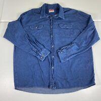 Wrangler Button Up Shirt Sz 2XT 2XL Blue Casual Denim Western Long Sleeve Mens
