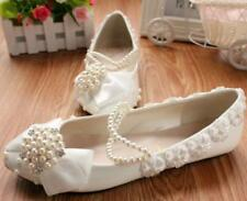 Womens Pearls Wedding Rhinestones Pointed Toe Shoes White Bride Bow Flowers S105