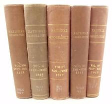 five National Geographic magazine sets. Hardcover library bound books, WWII era.