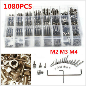 1080PCS Stainless Steel Screw & Nut Hex Socket Head Cap Screws Assortment w/ Box