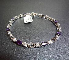 "Platinum Over Sterling Silver Simulated Amethyst & CZ Tennis Bracelet 7.5"""