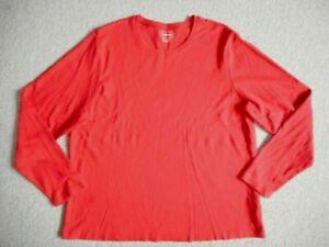 Womens Top-L.L. BEAN-bright orange 100% cotton knit long sleeve-1X