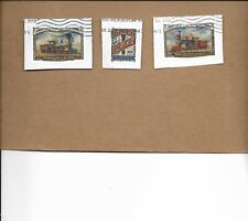 SCOTT 5378-80  TRANSCONTINENTAL RAILROAD USED SET OF THREE STAMPS ON PAPER