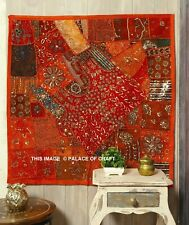 Ethnic Indian Embroidered Orange Wall Hanging Boho Patchwork Art Decor Tapestry