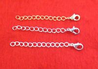 3 INCH GOLD,WHITE GOLD,SILVER  PLATED 4MM NECKLACE EXTENDER W/ LOBSTER CLAW SET
