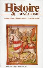 HISTOIRE & GÉNÉALOGIE N° 9 /1987 = Famille de JEANNE d'ARC + ST-SIMON + LALAING