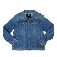 G-Star Raw Jean Jacket Mens Size XL Slim Fit 3D Button Up Long Sleeve Blue Denim