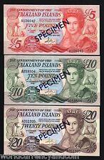 FALKLAND ISLANDS *SPECIMEN* 5 10 20 POUNDS P12 14 15 QUEEN PENGUIN SHEEP 3 V SET
