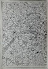1914 Antique PARIS Map of Paris France Black and White Gallery Wall Art  #3731