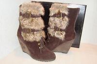 Carlos Santana Womens NWB Fabulous DK BRN CRM Wedge Boots Shoes 10 MED NEW