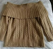 EXPRESS Sz M Off Cold Shoulder 3/4 Sleeve Knit Sweater Top mustard  color