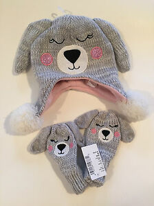 Childrens Place Hat & Mitten Set Fleece Winter Grey Puppy Girls 6-12m NWT
