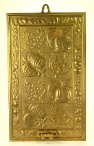 ^ Antique Embossed Brass Candle Sconce Lamp Backplate Bas-Relief Reflector