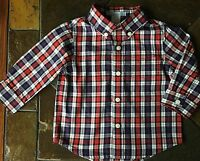 Janie And Jack shirt size 6 12 months boutique red blue plaid top Euc
