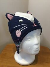 Girls John Lewis Hat Size 3-5yrs Navy Cat Trapper Beanie Casual Hat NWT