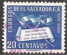 El Salvador Air Post Stamp - Scott #C136/AP40 20c Deep Blue Canc/LH 1952