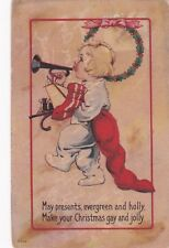 CHRISTMAS, PU-1914; Toddler playing trumpet marching with toy filled stocking
