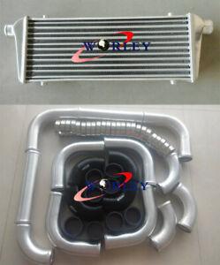 "Universal 550x230x50mm intercooler &2.25""aluminium piping&BLK Silicone Hose kit"