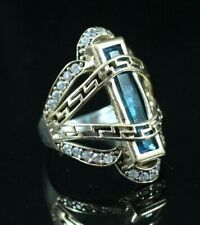 925 Sterling Silver Handmade Antique Turkish Aqua Marine Ladies Ring Size 7-9
