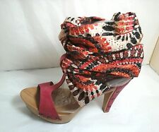 Mtng Women's Rose Pink Multi-Colored Strap up Fabric & Wood shoes~ Size 40