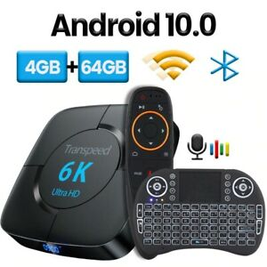 Bluetooth TV Box 6K 3D Wifi Google Voice Assistant Android 10.0 8G 4GB RAM 64GB