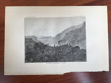1883 Hawaii Lithograph Book Plate of Halemaumau - The Great Lava Lake
