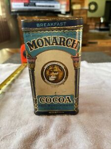 Vintage Monarch Cocoa Tin Hinged Lid Good Color Few Issues