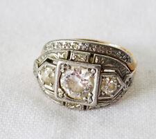 14K Yellow Gold & Platinum Wedding Ring & Guard Sz.4 w. Mine Cut Diamond (Lon)