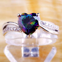 Fashion Heart Rainbow White Topaz Gemstone Silver Ring Size 6 7 8 9 10 11 12 13