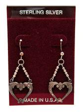 NEW! Sterling Silver FANCY HEART Beaded DANGLE Earrings