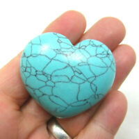 Turquoise Howlite Large Heart Polished Blue Gemstone 64g 4.5cm