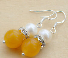 Teardrop Charm Earrings Silver Fashion natural Yellow Jade