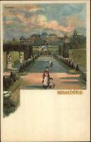 Belvedere Palace Wien Vienna Austria c1900 Artist Signed Postcard EXC COND