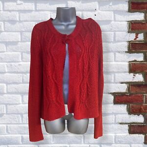 M&S - Womens UK 18 Red Long Sleeve Knit Open Cardigan