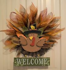 "Handmade*  Turkey Wreath  * Fall Colors* * Fall* Thanksgiving* ""Welcome"""