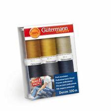 Gutermann Denim 100m No.50 Polyester Thread for Hand and Machine - 6 Colour Set