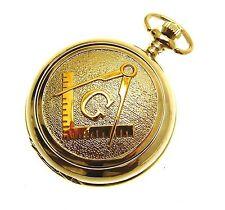 Masonic Pocket Watch Gold Two Tone Design Quartz Watch White Face Design 70
