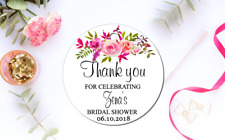 10 White Gift Tags bridal shower Bomboniere Personalised Thank you floral Circle