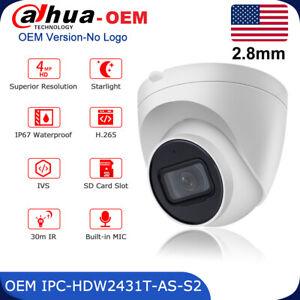 Dahua 4MP Starlight Built-in MIC POE IP Camera OEM IPC-HDW2431T-AS-S2 H.265 IP67