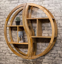 MANTIS SOLID MANGO WOOD ROUND 2 PART SHELVING UNIT BOOKCASE YIN YANG MANT-051