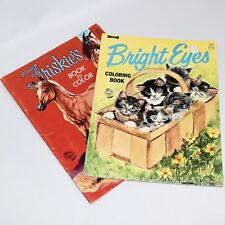 Vintage Coloring Books ArtCraft Friskie's and Bright Eyes Unused 1970s