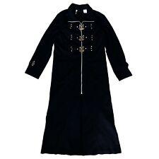 Lip Service 80s 90s Gothic Black Denim Bondage Padlock Jacket Trench Coat Size M