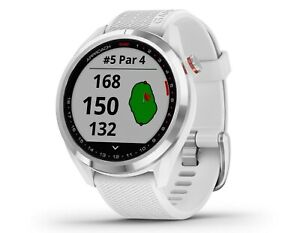 Garmin 010-02572-11 Approach S42 Polished Silver with White Band GPS Golf Watch